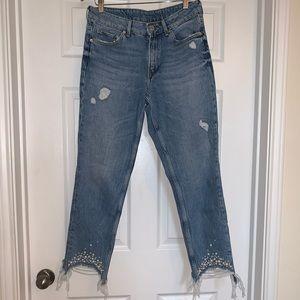 H&M Boyfriend Jeans with Pearl Hem